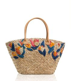 Straw Embroidered Tulip Bucket Tote | Womens Sale | ToryBurch.com