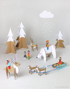 Gratuit : un tutoriel pour fabriquer des personnages du Grand Nord en carton.