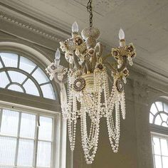 love  Erickson Beamon Glam Rock Chandelier~~completely covered with Japanese glass pearls and Swarovski crystals by Erickson B.