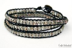 BRACELET WITH BEADS AND LEATHER CORD