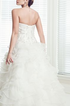 Thetis - Sweetheart Sleeveless  Ballgown Organza Beaded Wedding Dress - Ophelia Contessa White on White