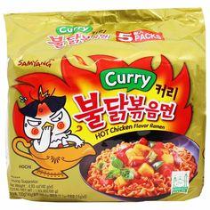 Samyang Korean Curry Spicy Hot Chicken Flavor Ramen Noodles Pack of 5 Ramen Recipes, Gourmet Recipes, Snack Recipes, Curry Ramen, Samyang Ramen, Japanese Snacks, Chicken Flavors, Ramen Noodles, Aesthetic Food