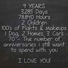 10 YEARS, 3650 Days, 87,600 Hours, 2 Children, 100's of Fights & Makeups, 3 Cats, 1 Fish, 2 Guinea Pigs, 4 Homes, 8 Cars, 70 - The number of anniversaries i still want to spend with you  I LOVE YOU ANTHONY! Happy Anniversary 10/19/13