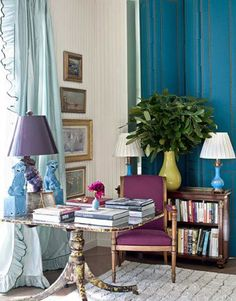 This home office is another great example of a good balance between neutrals and pops of jewel tone colors. I love the plum, aqua, and light green color combination.