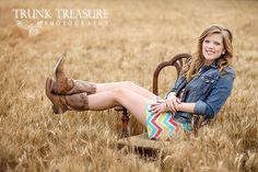 Senior girl in Kansas wheat country setting