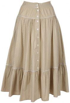 Oatmeal & White Button Through Prairie Skirt - Vintage clothing from Rokit - skirt, patterned, prarie