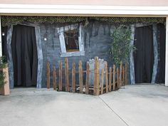 Haunted garage entrance...would be better it the doors were coffins!: