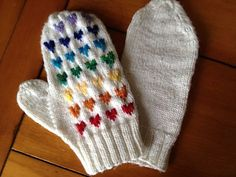 "these have a cute, retro feel to them. great way to try out some colorwork. ""Rainbow Hearts Mittens"" pattern by Keighley Chandler"