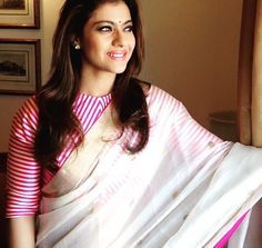Kajol in mashru blouse with Chanderi sari, absolutely beautiful Please message to have this customized to your needs Saree Blouse Patterns, Saree Blouse Designs, Sari Blouse, Saree Dress, Indian Blouse, Indian Sarees, Pakistani, Bollywood Stars, Indian Attire