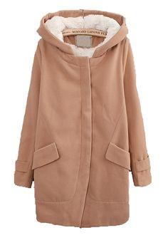 Khaki Pockets Long Sleeve Thick Dacron Wool Coat