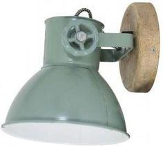 Wandlamp Elay - 18x20x19 - hout naturel - industrieel groen - Light