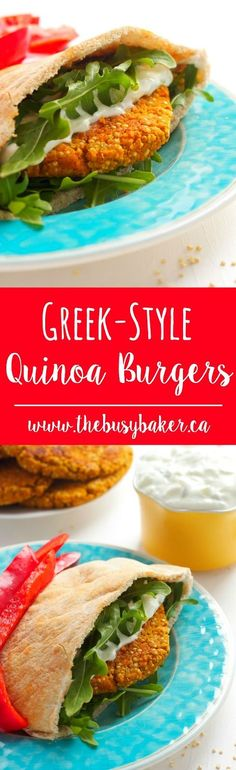 Greek-Style Quinoa Burgers ~ So delicious you won't miss the meat!