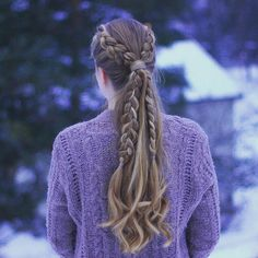 """Hairstyles & Braids on Instagram: """"Two Dutch Braids into a Ponytail I saw this hairstyle on @beyondtheponytail and decided to try it out I also used my @makestyle curling iron ⭐️ #prettyhairstyleess"""""""