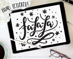Fa La La SVG Cut File, Deck The Halls, Christmas Vector, Hand Lettered, Silhouette SVG Cut File, Christmas DIY Sign, Christmas Overlay