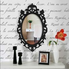 A very nice French stencil poem would look great in my dream dining room or bathroom, perhaps.