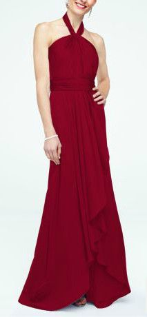 Long Matte Charmeuse Bridesmaid Dress with Y Neckline Style F15736 in Apple. #davidsbridal #redbridesmaiddress