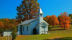 one room school house in West Virginia in Autumn