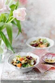 papaya and pistachio crusted chicken salad