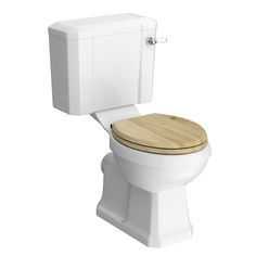 Keswick Traditional Close Coupled Toilet with Walnut Soft Close Seat Large Image