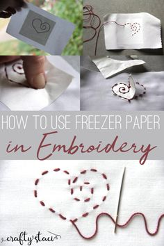 New embroidery fabric freezer paper Ideas Easy Sewing Projects, Sewing Projects For Beginners, Sewing Hacks, Sewing Tips, Paper Embroidery, Embroidery Patterns, Embroidery Stitches, Freezer Paper, Leftover Fabric
