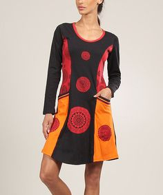 Take a look at this Aller Simplement Red Flower Panel Shift Dress on zulily today!