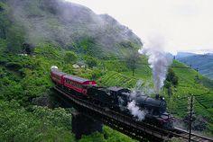 Antique steam-powered passenger train near Ella, south central mountains of Sri Lanka (www.secretlanka.com)