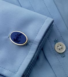 fc64967bf7c Who could stay feeling blue with this elegant cufflink shown here on a  well-tailored