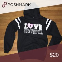 "Softball Sweatshirt Like new! Cute sweatshirt with drawstrings! Fits like a small! Writing is supposed to be cracked go give it the ""rough/tough"" look! Tops Sweatshirts & Hoodies"
