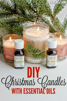 These DIY Christmas Candles with essential oils are surprisingly easy and fun to make. Plus they're perfect as a more natural candle and make wonderful homemade gifts!