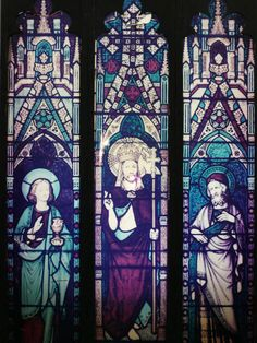 Large replica gothic stained glass church winow in three panels 8'8'' high x 5'8'' wide, available to hire. (Stock code;- COAB10038)