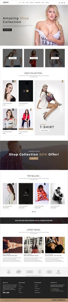 Leeray Ecommerce PSD Template is responsive ecommerce theme with clean and modern design. Leeray – A clean & fresh Multi-Purpose ecommerce template that is Website Design Inspiration, Website Design Layout, Blog Layout, Web Layout, Template Web, Ecommerce Template, Psd Templates, Design Templates, Fashion Web Design