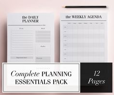 Half-Size Planner Pages, Half-Letter Organizer Inserts, 5.5 X 8.5 Planner Printables, 13 Pages: Daily Planner, Meal Planner, To Do List.