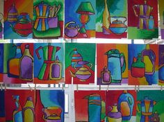 5th grade still life-plus crisp lines using tempera and color theory...warm/cool & complementary color themes