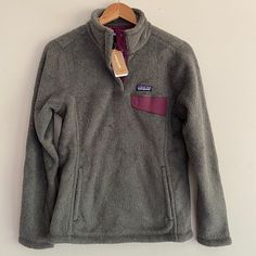 New with tags Patagonia fleece pullover Size: Medium Color: Feather Gray - Ink Black X-Dye/Light Balsamic Patagonia Fleece Pullover, Feather, Men Sweater, Ink, Tags, Gray, Medium, Sweaters, Jackets