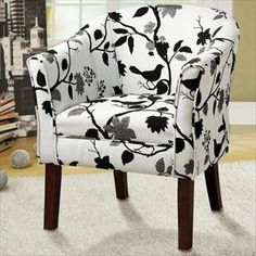 460406 Rosalind wheeler amity Dark finish wood frame barrel shaped accent side chair with bird and branch upholstery. Chair Measures x x H. Some assembly required. Floral Accent Chair, White Accent Chair, Upholstered Accent Chairs, Black And White Chair, Chair Upholstery, Black White, Patterned Chair, Tufted Armchair, Living Room Ideas