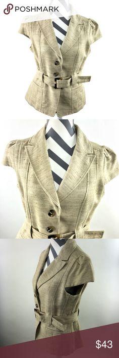 1456469b9d7 Ann Taylor 3 Button Blazer Tussah Silk Cotton Ann Taylor Womens 10 Tan Cap  Sleeve Buckle