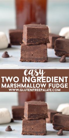 Two Ingredient Marshmallow Fudge that is ready in less then ten minutes, smooth, rich and perfect for fudge-lovers. This fudge is gluten-free, dairy-free, and free of the top allergens. You are going to love this easy fudge recipe! Nutella Fudge, Easy Chocolate Fudge, Homemade Chocolate, Vegan Fudge, Keto Fudge, Homemade Fudge, Marshmallow Desserts, Recipes With Marshmallows, Köstliche Desserts