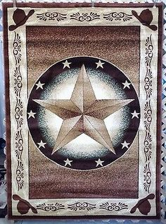 3X4, 3X7, Or 6X8 Brown Texas Star Country Western Cowboy Hats Area Rugs  Carpets