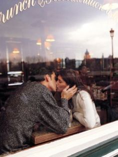 stealing kisses in a coffee shop. love love love