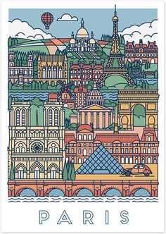 Architectural Drawing Patterns Et voilà, Paris, in all its glory. This graphical poster is decorated with famous Parisien icons and treasures of the highest order. City Illustration, Graphic Design Illustration, Digital Illustration, Graphic Art, Graphic Posters, Illustration Styles, Buch Design, Design Art, Doodle Art