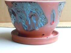 Hand Made Hand Carved Raw Red Clay Flower Pot by GoodPotCeramics