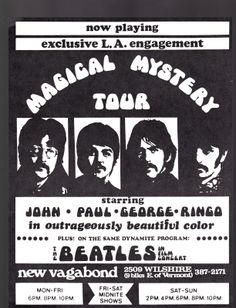 ULTRA RARE BEATLES MAGICAL MYSTERY TOUR PLUS THE IN FILM CONCERT POSTER