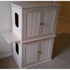 Stacked Double Cat Litter Box Cabinet with Odor Absorbing Light #catsdiylitterbox #catlitter