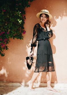 IT´S FINALLY HERE - Lovely Pepa by Alexandra. Black mesh midi dress+black ankle strap pointed ballerinas+straw hat. Spring Dressy Casual Outfit 2017