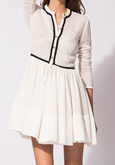 Hollow Pleated Buttons Dress