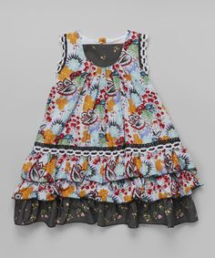 Take a look at the Black & Blue Floral Lace Dress - Toddler & Girls on #zulily today!