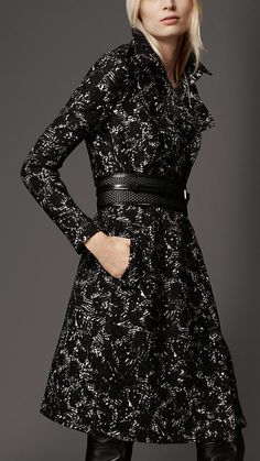 Burberry - LONG PRINTED WOOL TRENCH COAT