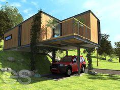 Koncepcyjny domek w systemie modułowym zlokalizowany na nieforemnej działce z dużym spadkiem. Dla lepszego wkomponowania w teren na elewacji zastosowana drewno. Fundamentowanie punktowe + stalowa konstrukcja wsporcza. Powierzchnia użytkowa 90 m2.