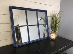 Blue Pane Window Mirror Rustic By TheDecorativeCompany