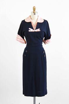Love, love, love! #nautical #1940s #pink #navy #dress #vintage